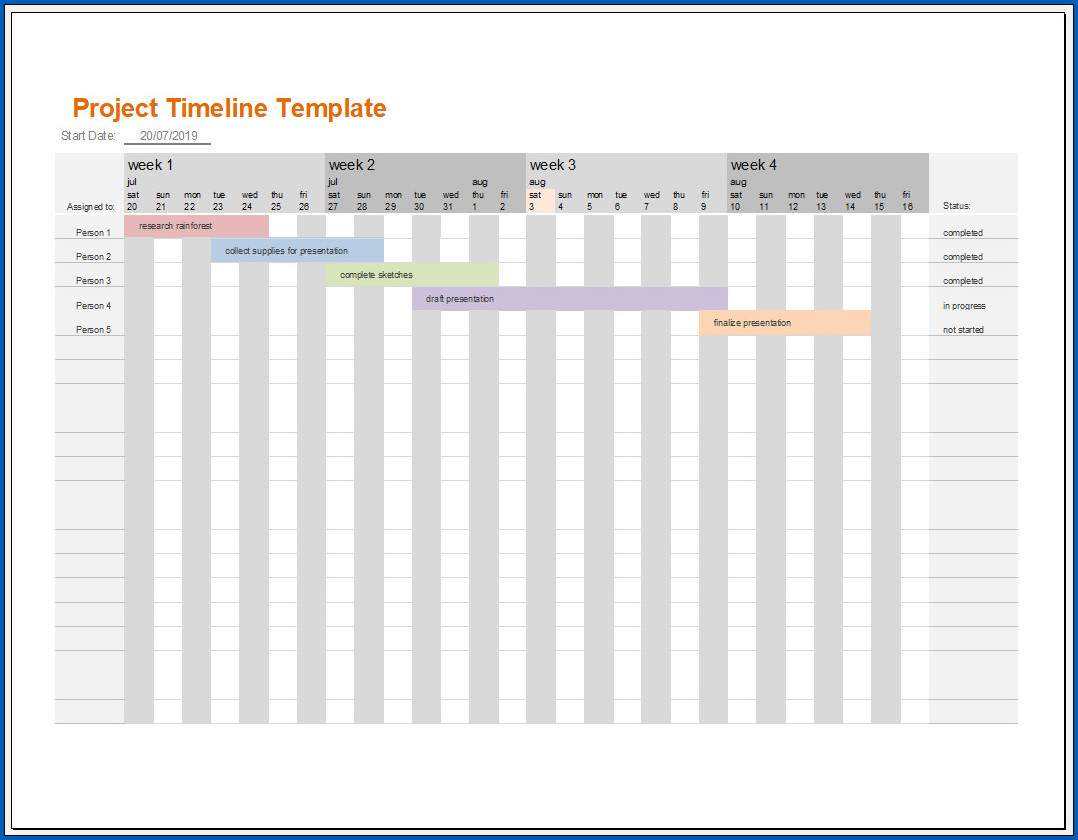 Free Customizable Project Timeline Template