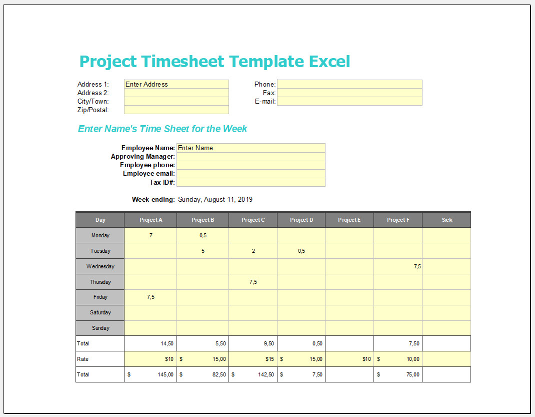 Free Editable Project Timesheet Template Excel