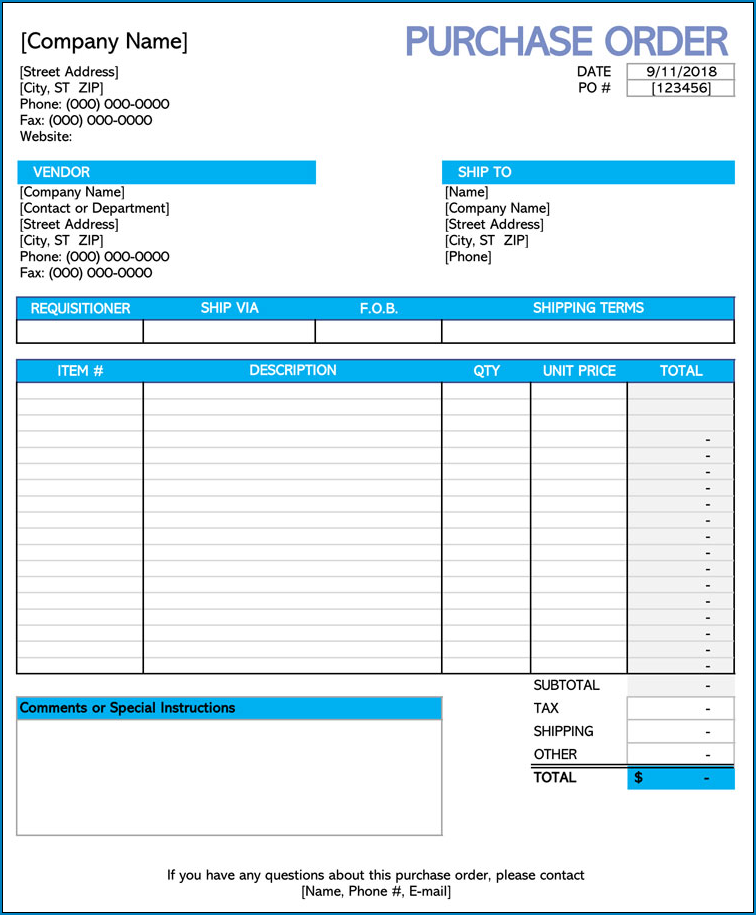 Purchase Order Template Example