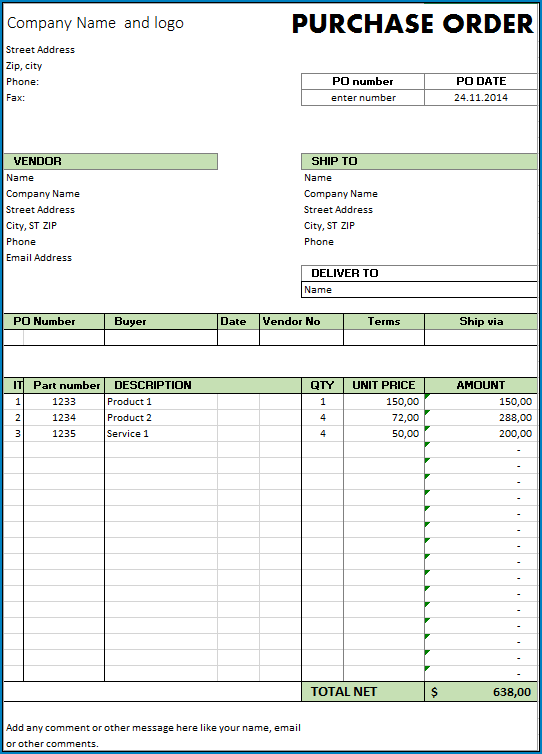 Purchase Order Template Sample