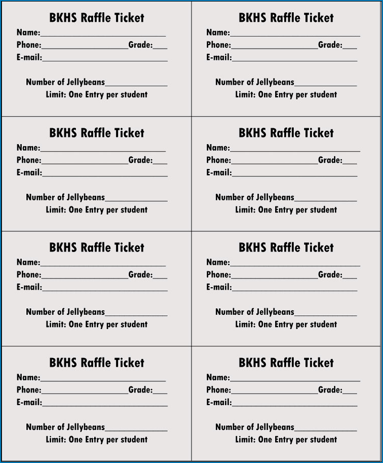 Raffle Ticket Template Example