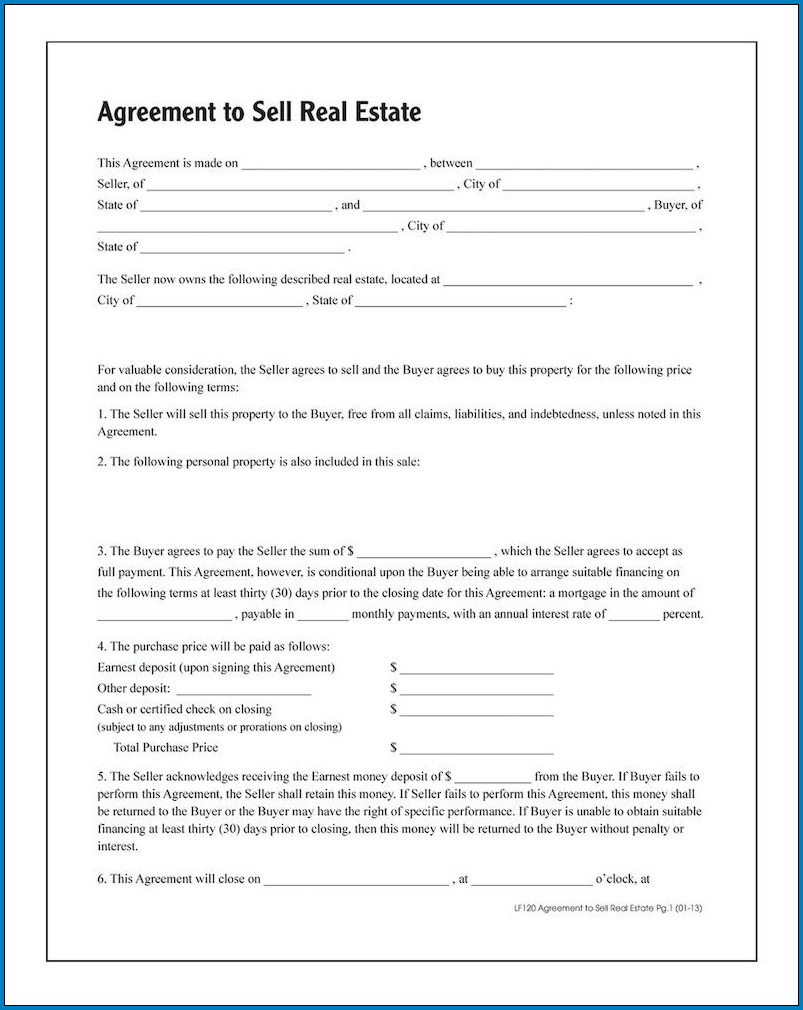 Real Estate Contract Template Example