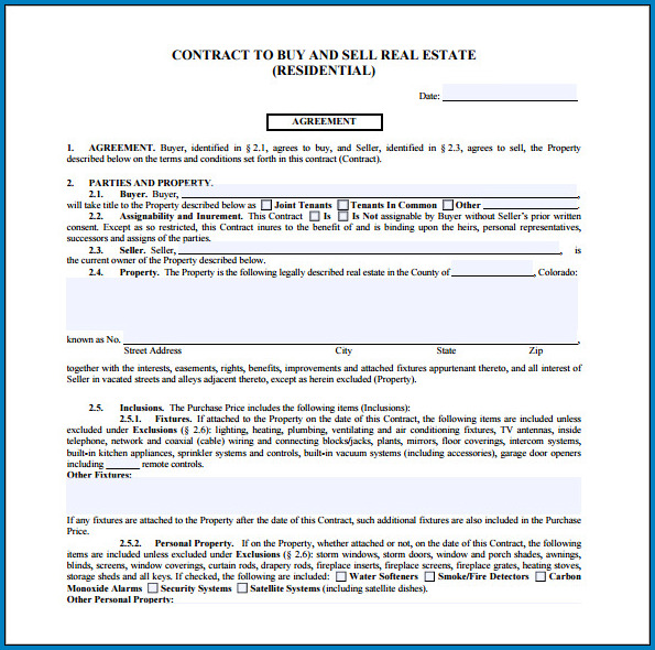 Real Estate For Sale By Owner Contract Template Example
