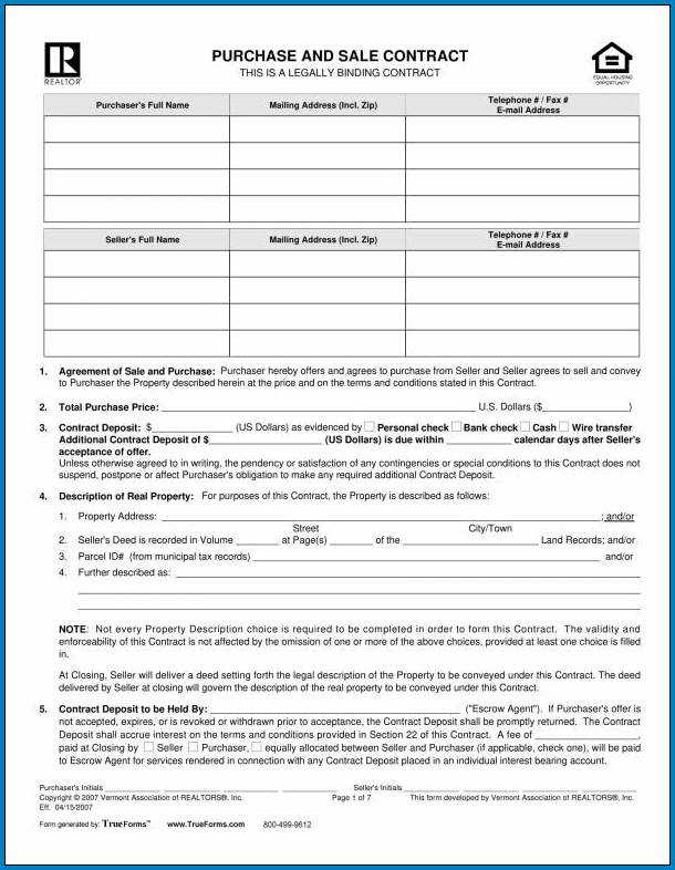 Real Estate For Sale By Owner Contract Template Sample