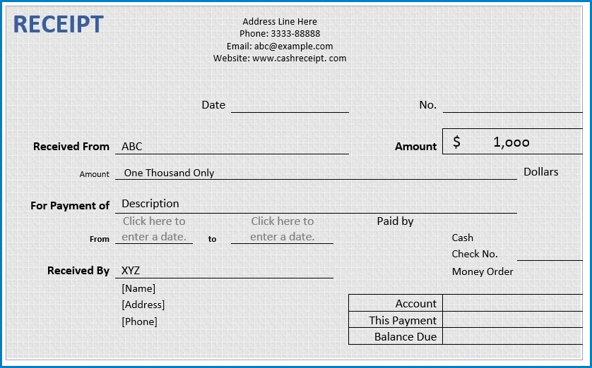 Receipt Template Word Example