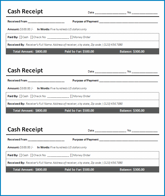 Receipt Template Word Sample
