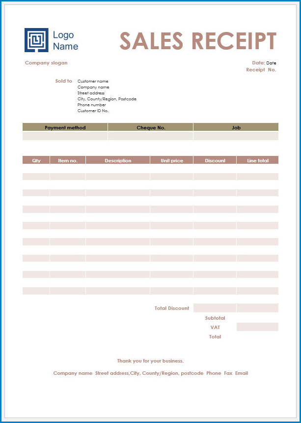 free printable receipt template word