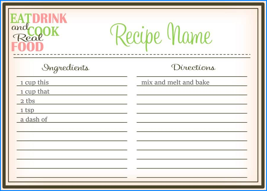 Recipe Template For Word Sample