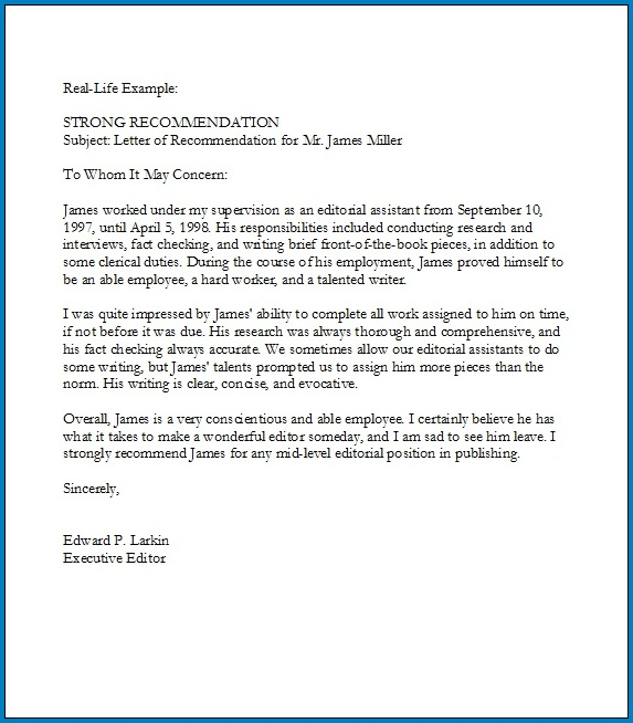 Recommendation Letter For Employee From Manager Example