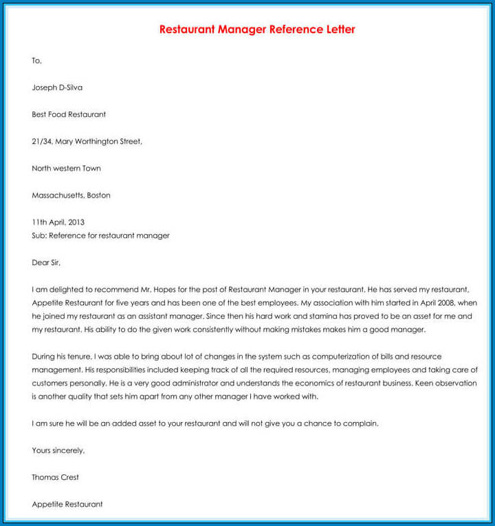 Recommendation Letter For Employee From Manager Sample