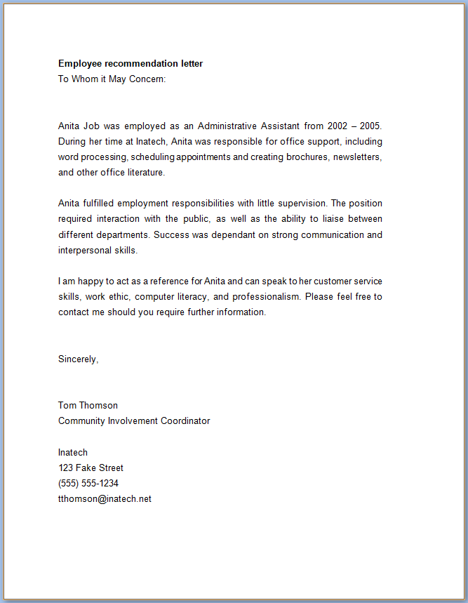 Employee Reference Letter Templates from www.templateral.com