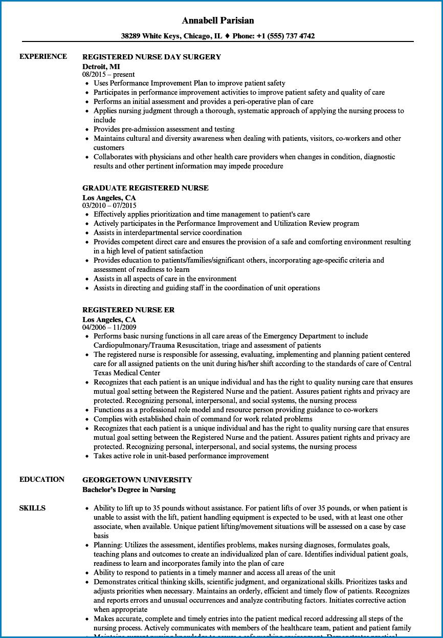 Registered Nurse Resume Template Example