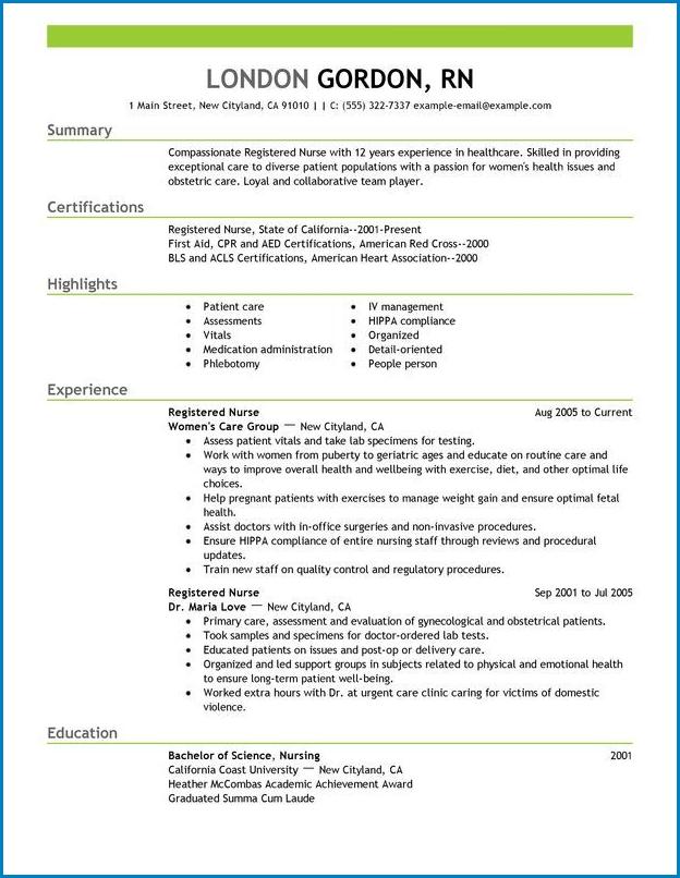 Registered Nurse Resume Template Sample