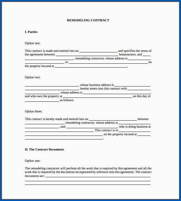Remodeling Contract Template Sample