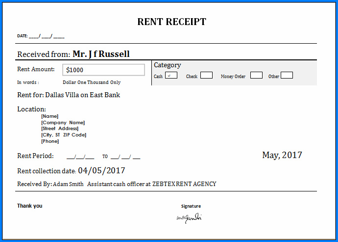 Rent Receipt Template Example