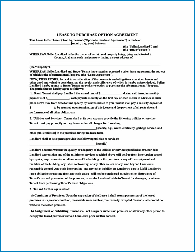 Rent To Own Contract Forms For Houses Sample