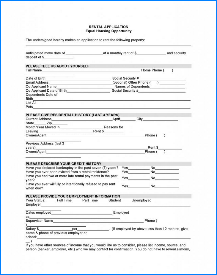 Rental Application Form Example