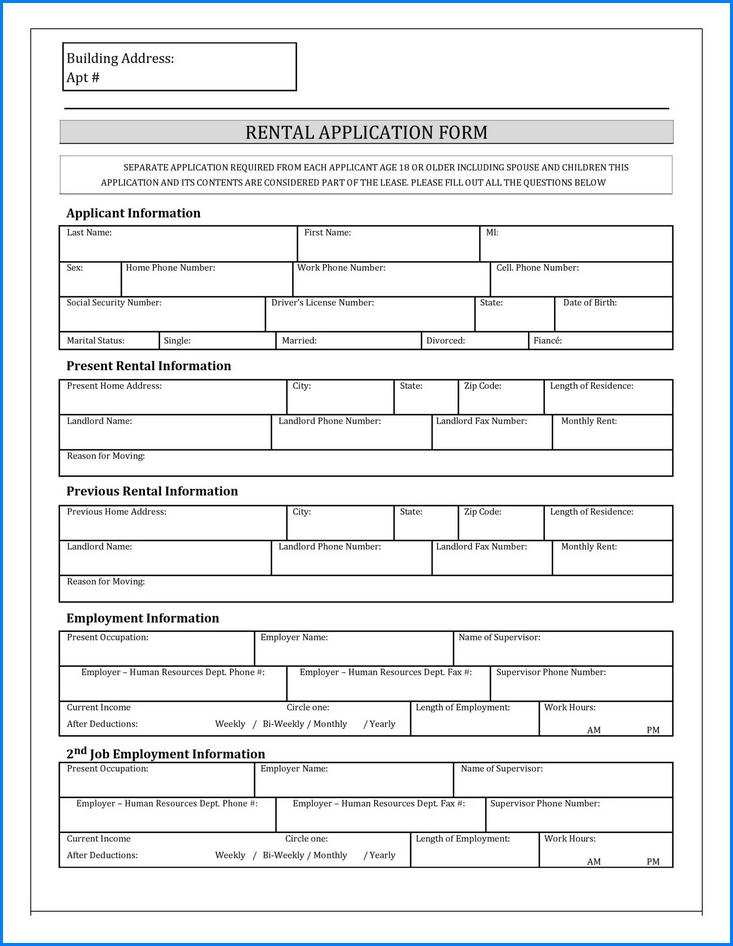 Rental Application Form Sample