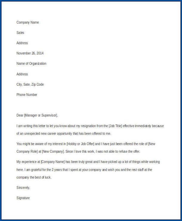 Resignation Letter For Job Example
