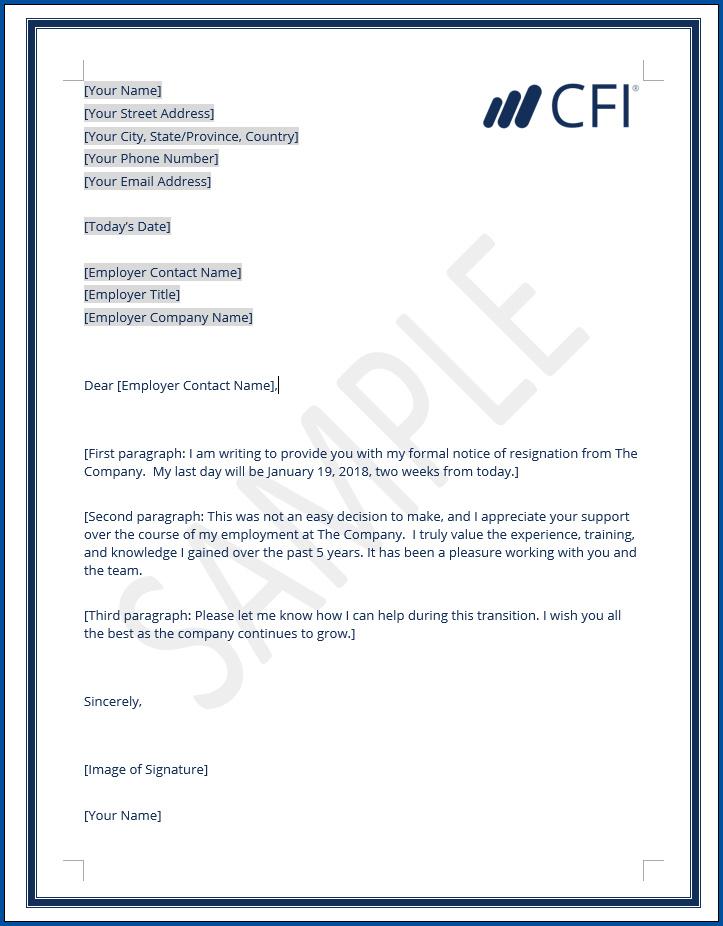 free printable resignation letter for job
