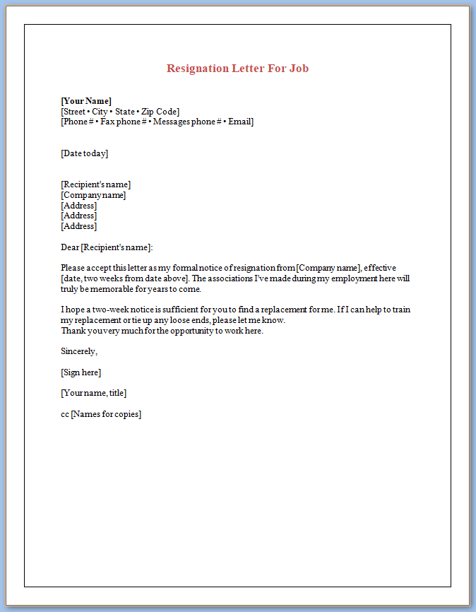Free Printable Resignation Letter Template For Job