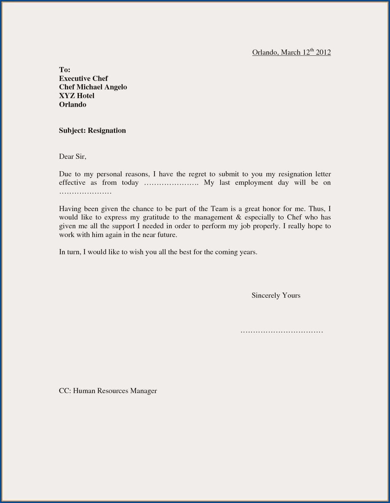 Resignation Letter From Work Sample