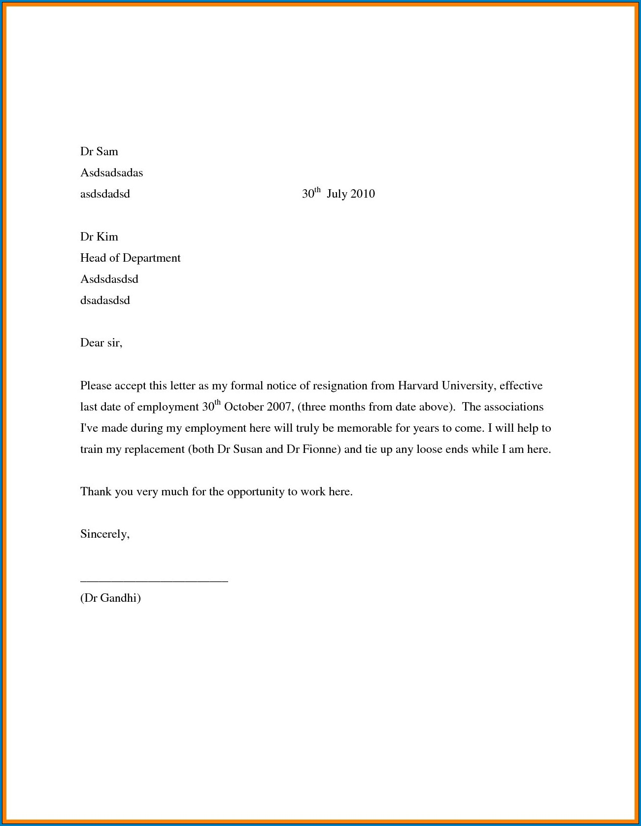 Resignation Letter Of Job Example