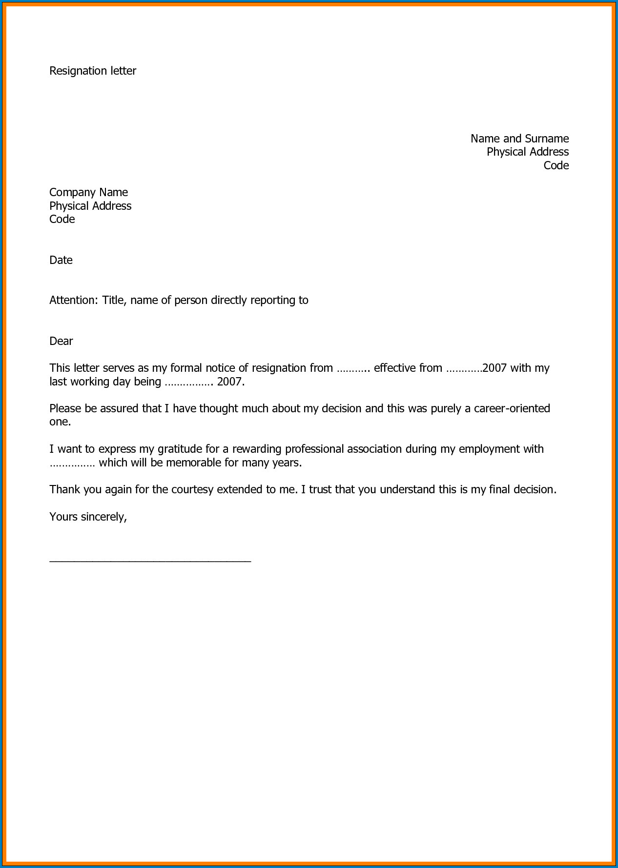 Resignation Letter Of Job Sample