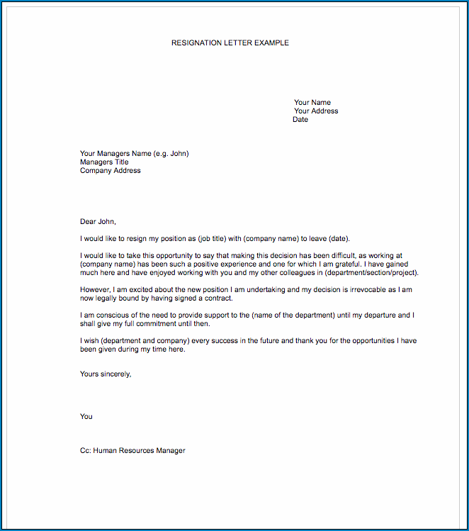 Resignation Letter Template Word Example