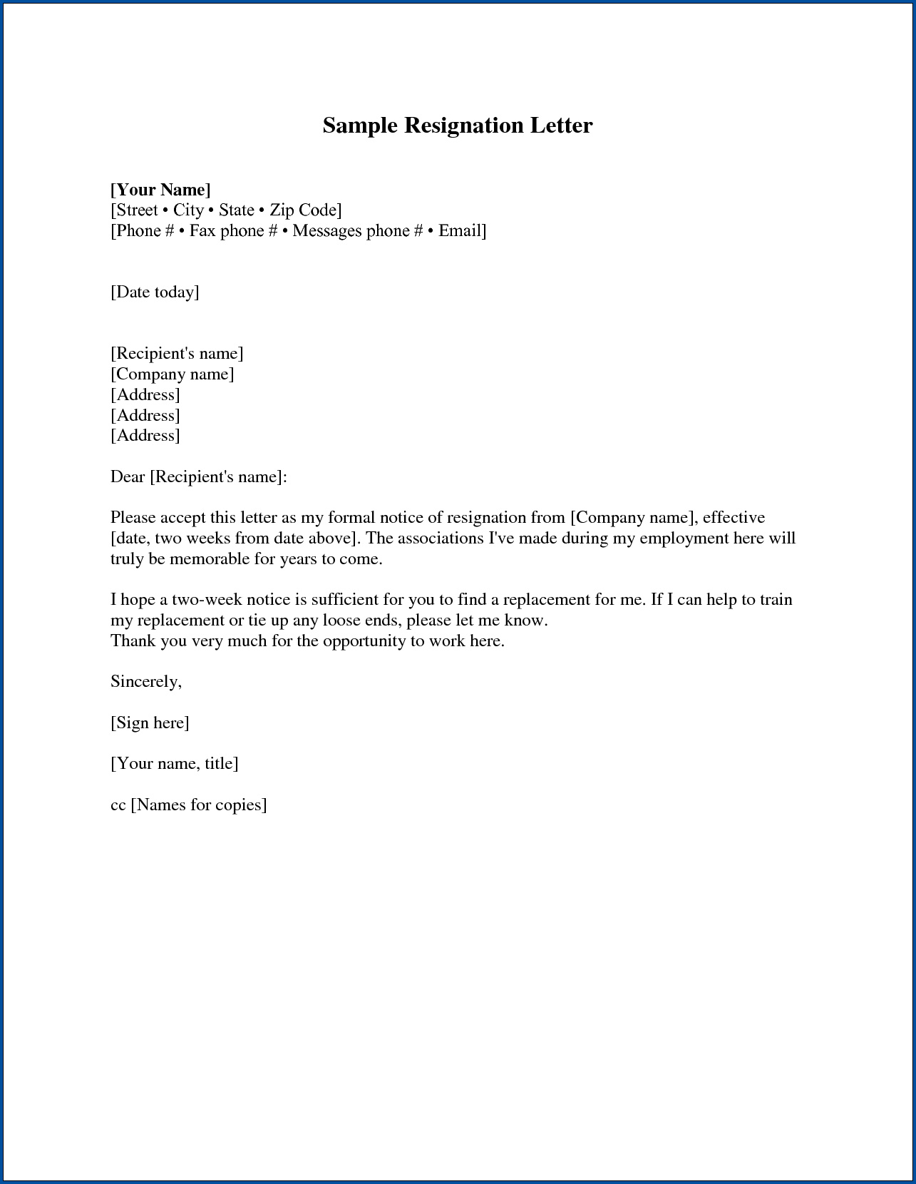 Resignation Letter Two Weeks Notice Sample