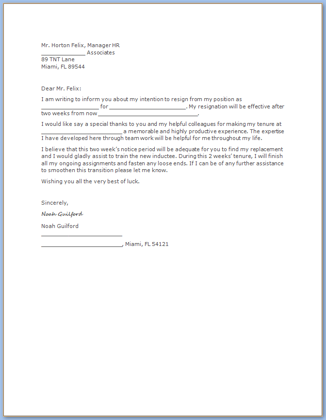 Free Printable Resignation Letter Two Weeks Notice