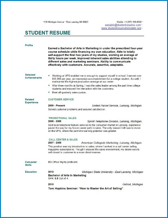 Resume Template For College Student Example