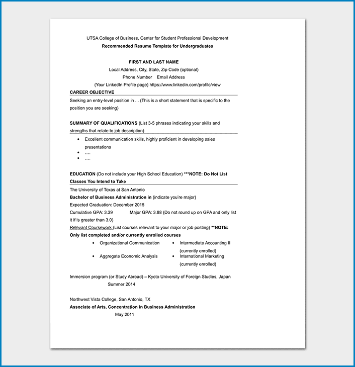 Resume Template For College Student Sample