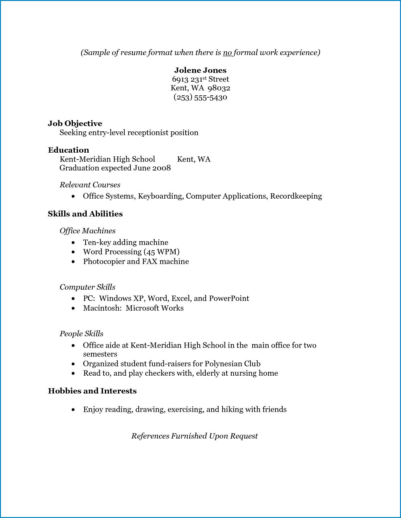 Resume With No Work Experience Template Templateral