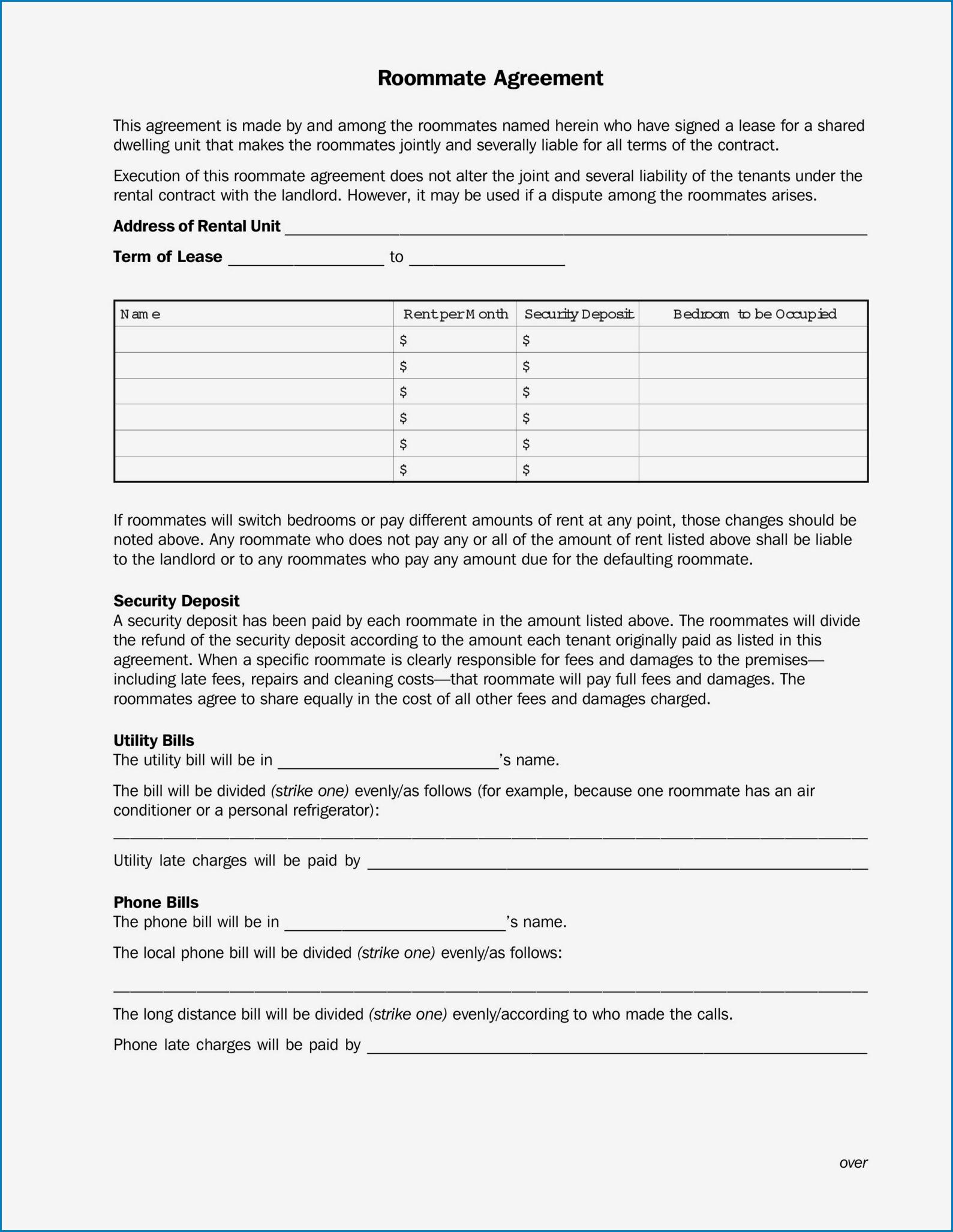 Roommate Agreement Template Sample
