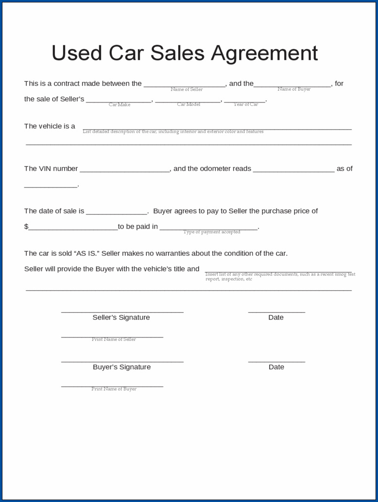 Sales Contract For Car Sample