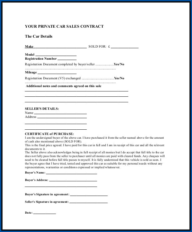 Sales Contract Template Sample