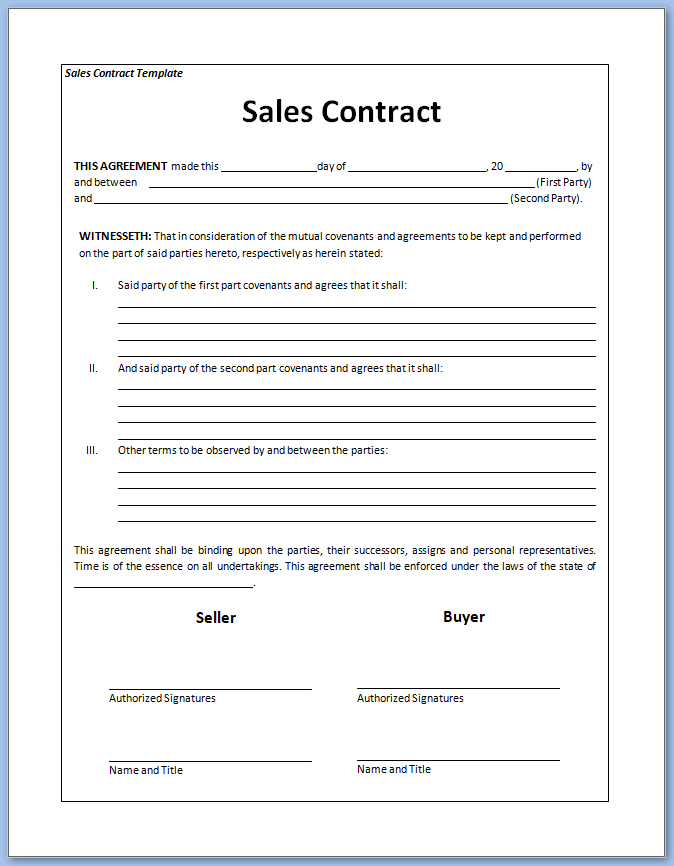 Free Printable Sales Contract Template