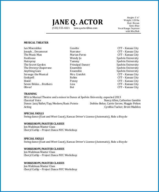Sample of Acting Resume Template No Experience