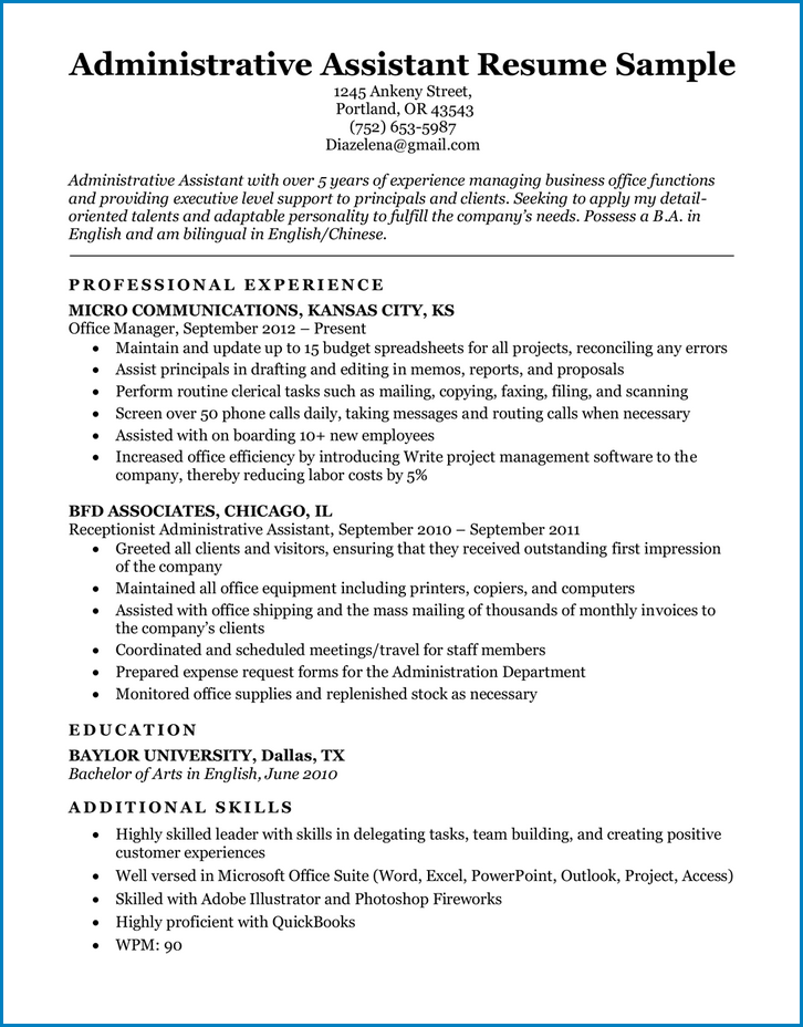 Sample of Administrative Assistant Resume Template
