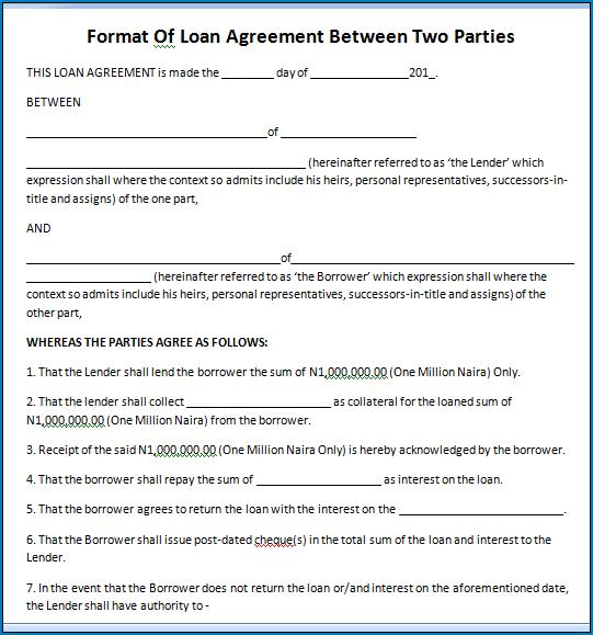 Sample of Agreement Between Two Parties