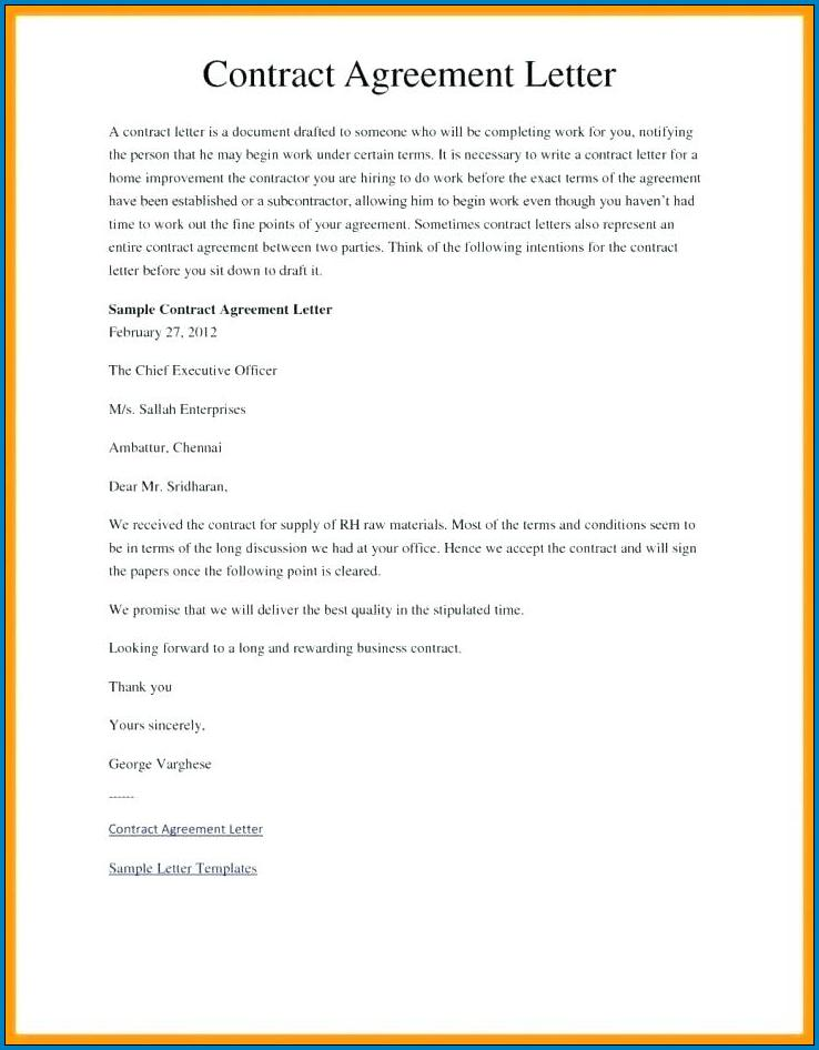 Sample of Agreement Letter Between Two Parties
