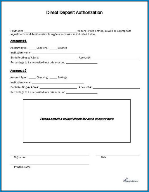Sample of Bank Deposit Form