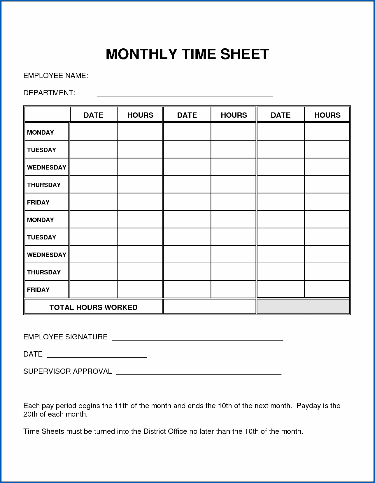 Sample of Basic Monthly Timesheet Template
