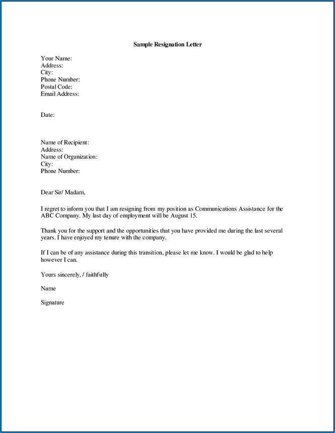 Letter Of Resignation Template Microsoft from www.templateral.com