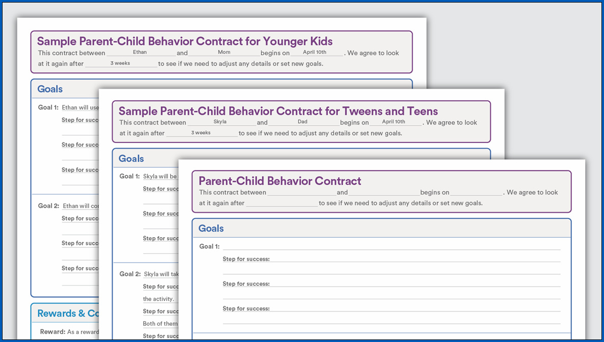 Sample of Behavior Contract for Teenager