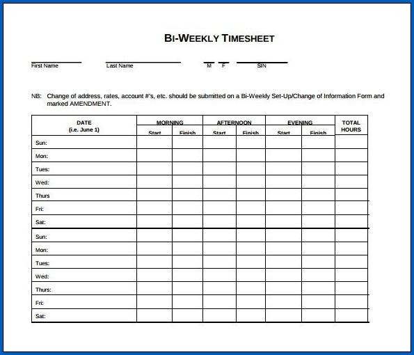 Sample of Biweekly Timesheet Template