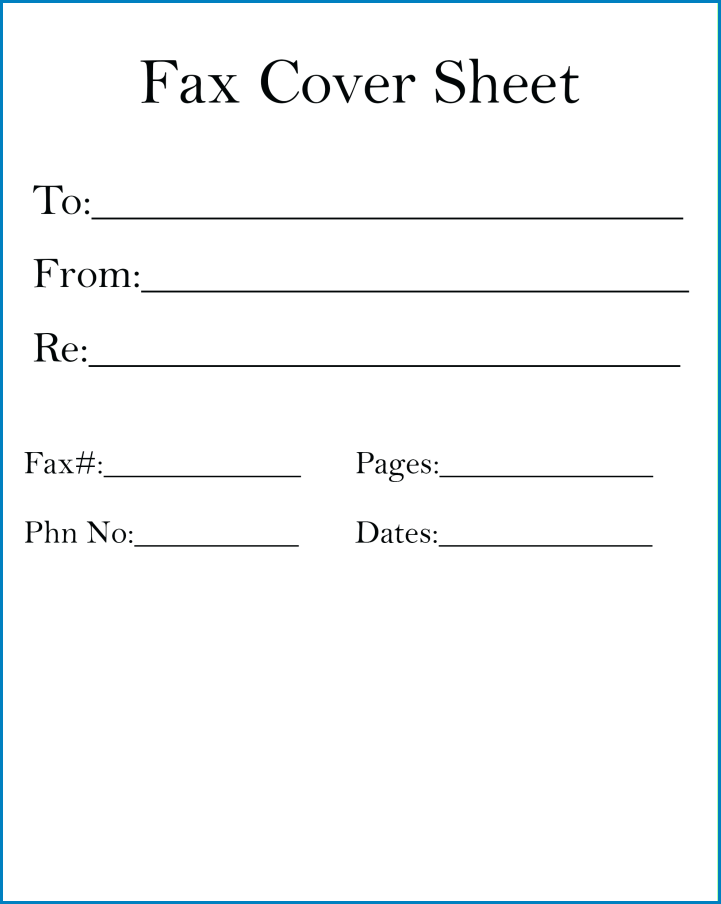 Sample of Blank Fax Cover Sheet Template