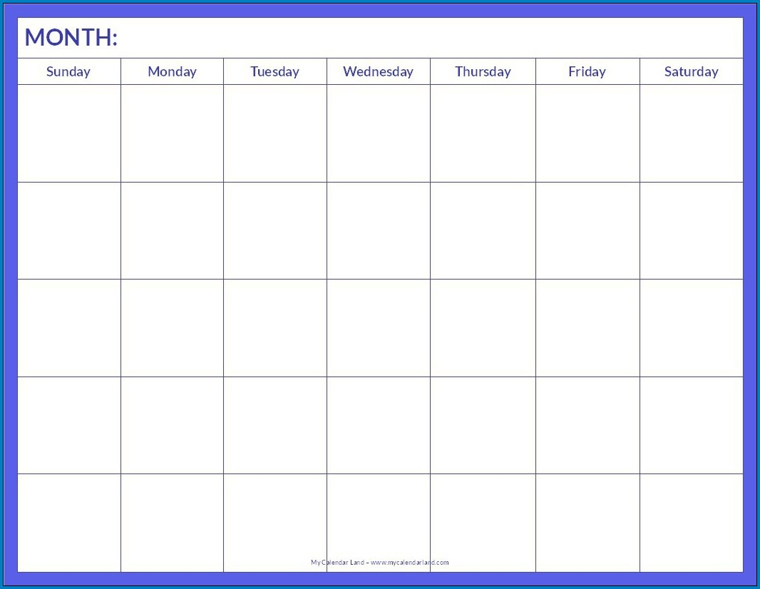 Sample of Blank Monthly Calendar Template