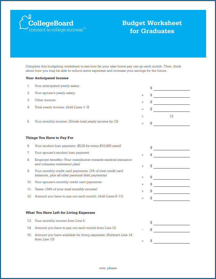 Sample of Budget Template For College Students